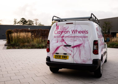 The back of the BCB Clay on Wheels van parked in the gardens of World of Wedgwood.