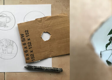 Examples of a handmade viewfinder from cardboard.