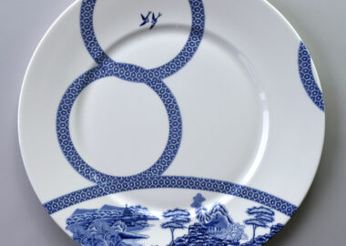 White and blue china plate.